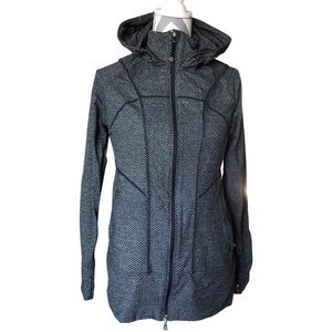 Athleta Gray Herringbone Zip Up Hoodie Activewear